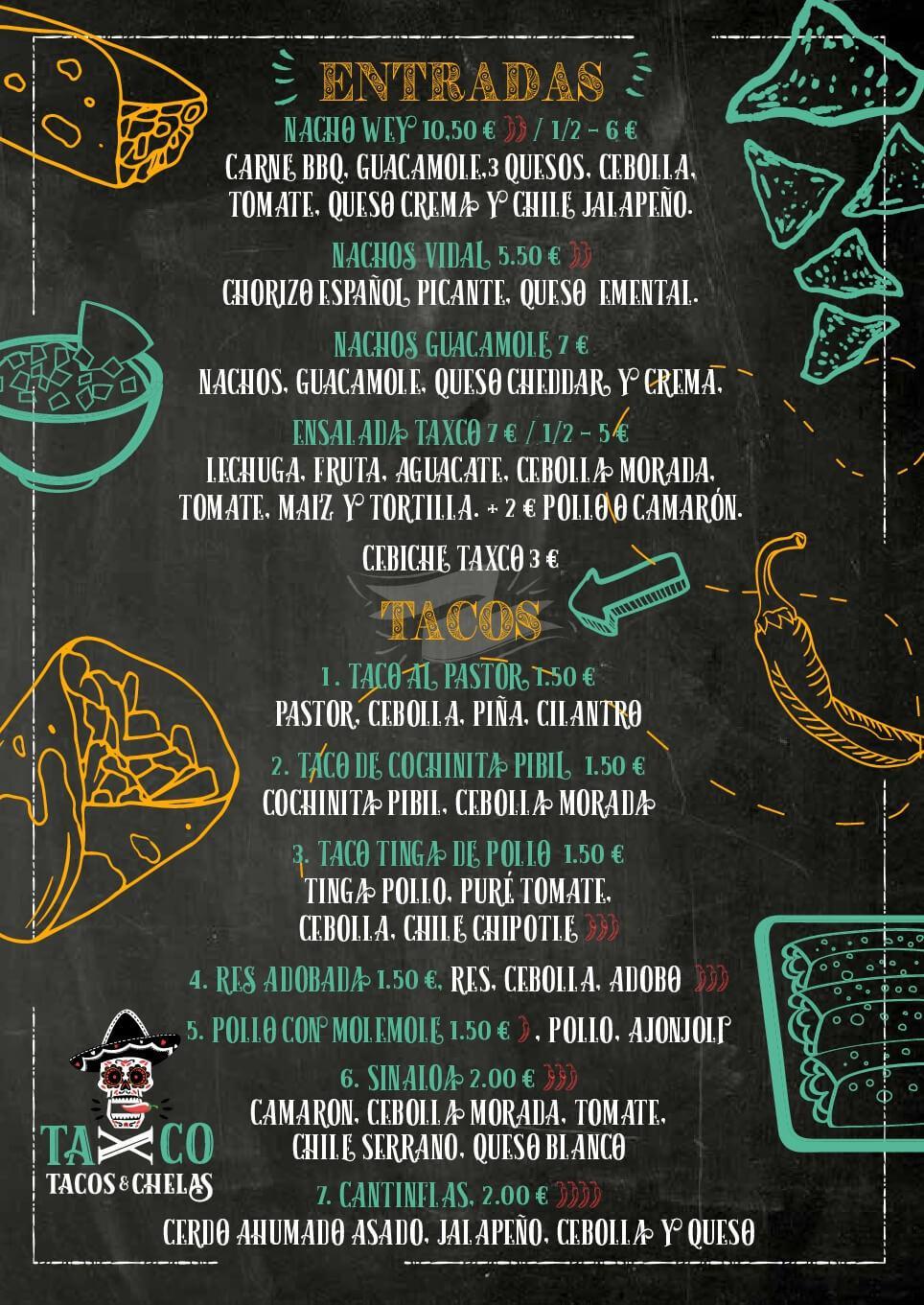 carta tacos y nachos