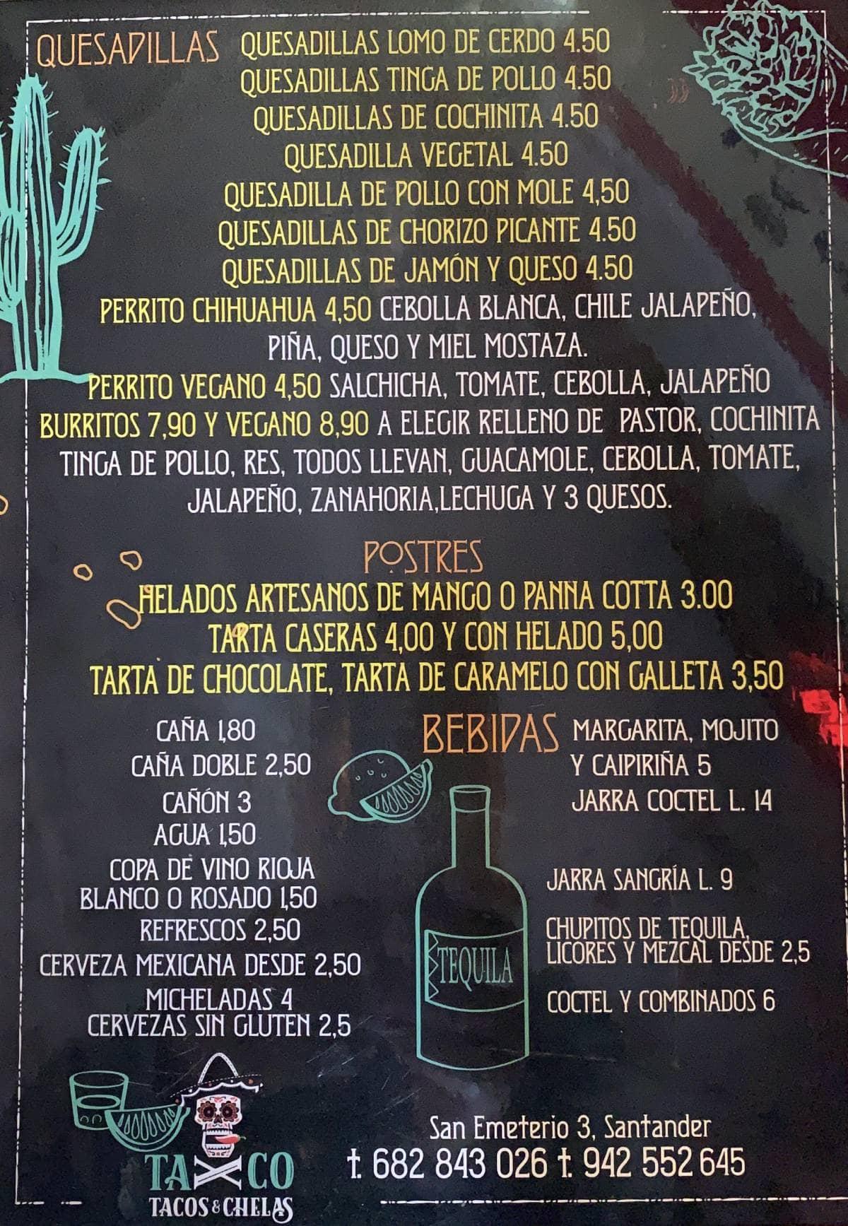 Carta Taxco 2 (1) cantabria santander comida mexicana tacos para llevar pedir comida mejicana a domicilio